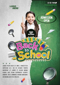 Social media template a4 back to school admission open