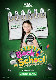 Social media template a4 back to school open for registration enroll now get 50 off