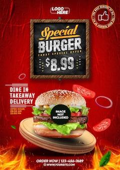 소셜 미디어 템플릿 a4 burger today 특별 제공 템플릿