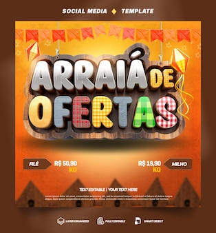 Social media template arraia junina party offers in brazilian