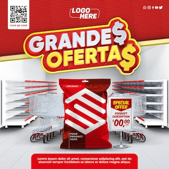 Social media template in brazil with products with great offers