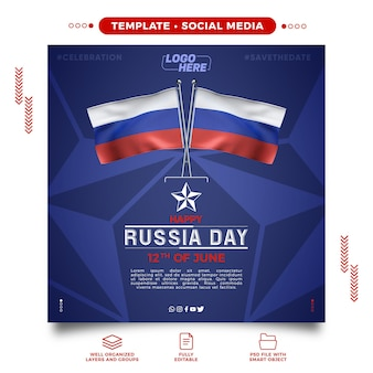 Social media template celebrating russias day on june 12 for makeup