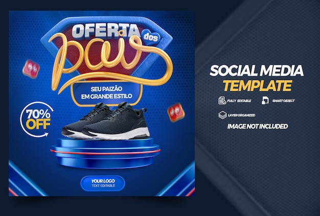 Шаблон соцсети день отца предлагает кампанию на бразильском языке