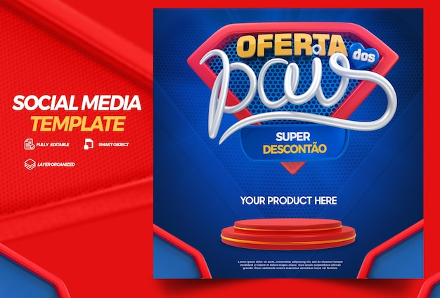 Social media template fathers day offers with podium campaign in brazilian