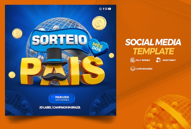 Social media template fathers day prize draw campaign in brazilian