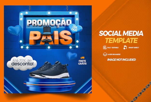Social media template fathers day promotion campaign in brazilian
