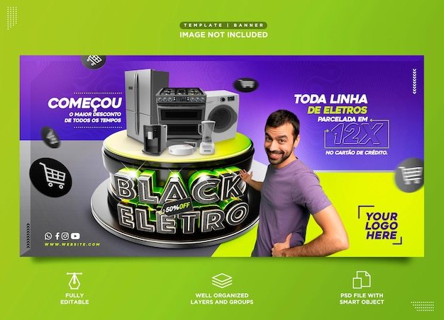 포르투갈에서 black eletro brazil 가전제품 판매를 위한 소셜 미디어 템플릿