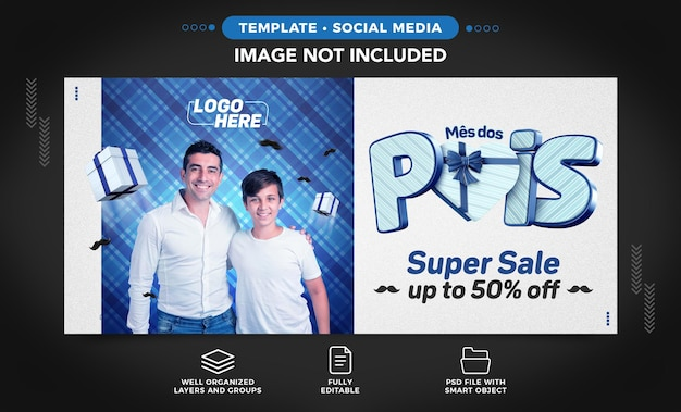 Social media template happy fathers day in brazilian