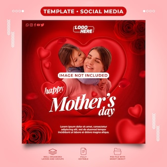 Social media template happy mothers day full of love