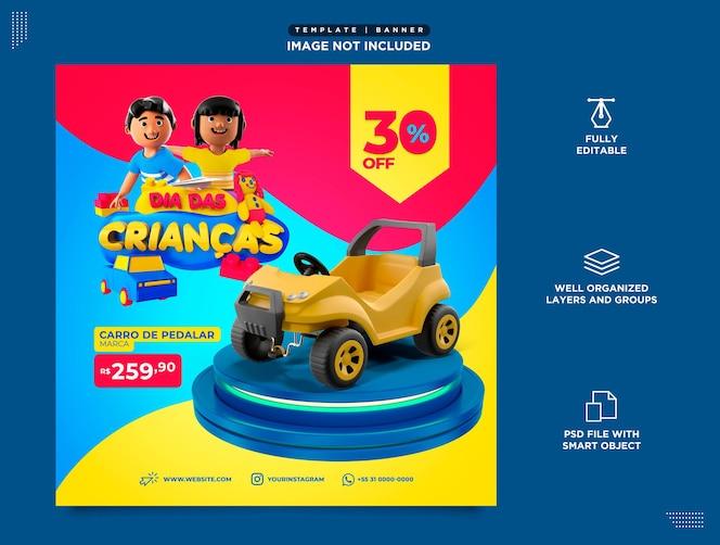 Social media template instagram post dia das children brasil em portugues sales