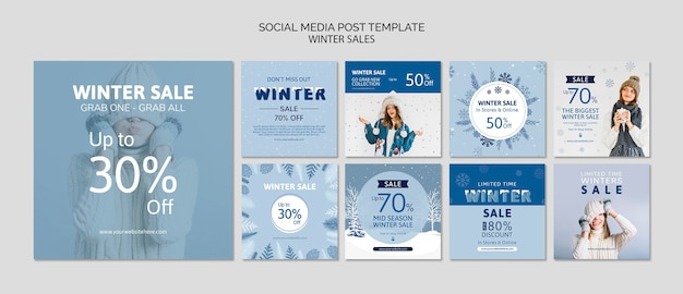 Social media template pack with sales