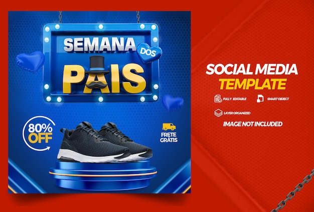 Social media template parents week campaign in brazilian