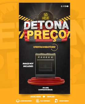 Social media template stories destroys price for campaigns in general stores in brazil