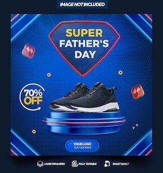 Social media template super fathers day with podium