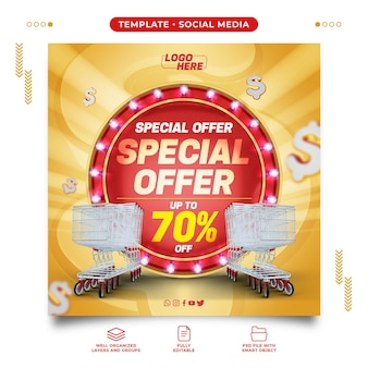 Social media template for supermarket special offer with up to discount