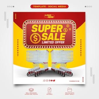 Social media template supermarket super sale limited offer