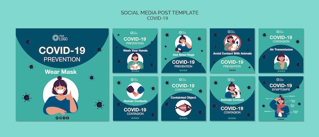 Social media template template with covid 19