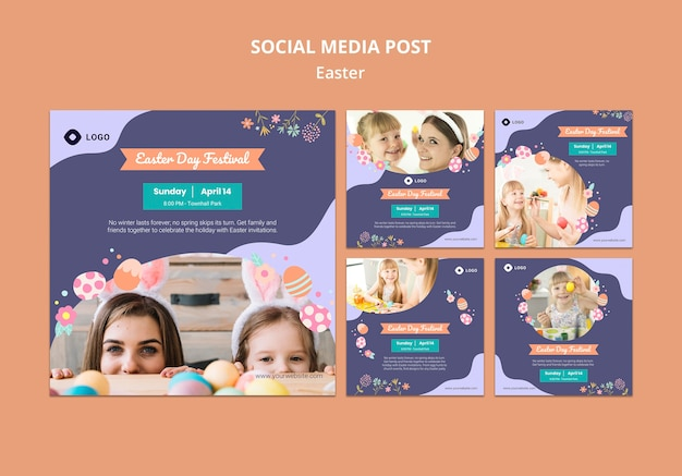 Social media template with easter day