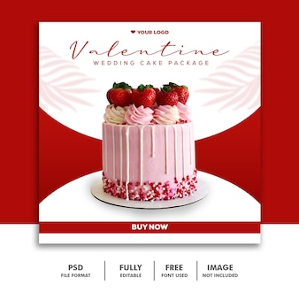 ソーシャルメディアバレンタインテンプレートinstagram、食品の赤いウェディングケーキ