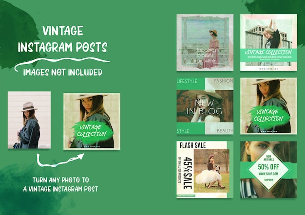 Social media vintage instagram posts bundle