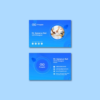 Social media web template for business cards