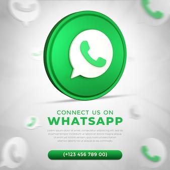 Social media whatsapp app icon in 3d rendering