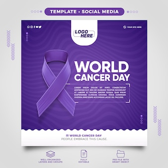 Social media world cancer day template