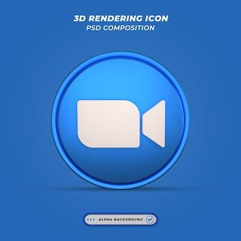Значок приложения social media zoom в 3d-рендеринге