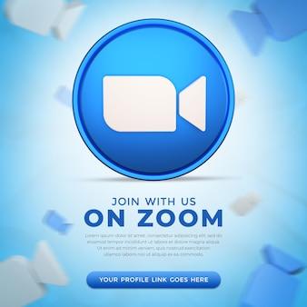 3d 렌더링의 소셜 미디어 줌 앱 아이콘