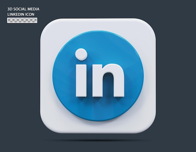 소셜 미디어 linkedin 아이콘 개념 3d 렌더링