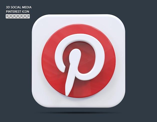소셜 미디어 pinterest 아이콘 개념 3d 렌더링