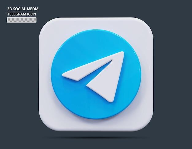 Социальные медиа telegram значок концепции 3d визуализации