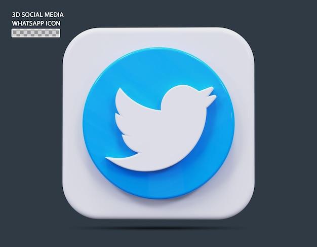 소셜 미디어 twitter 아이콘 개념 3d 렌더링