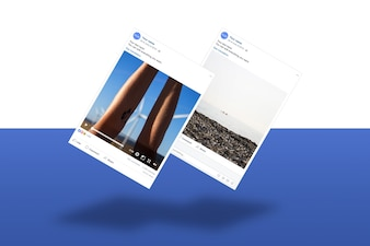 Social network photo frame mockup collection