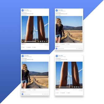 Social network photo frame mockup set