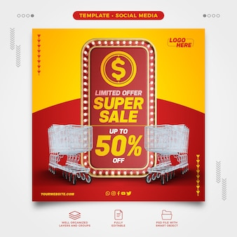 Social networks supermarket limited offer super sale with shopping cart