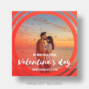 Social template happy valentine's day