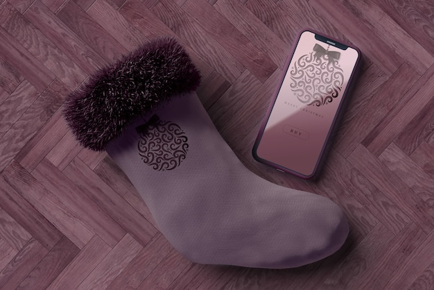 Sock for christmas with phone beside