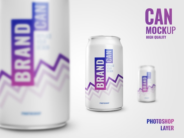 Soda can close up drink mockup
