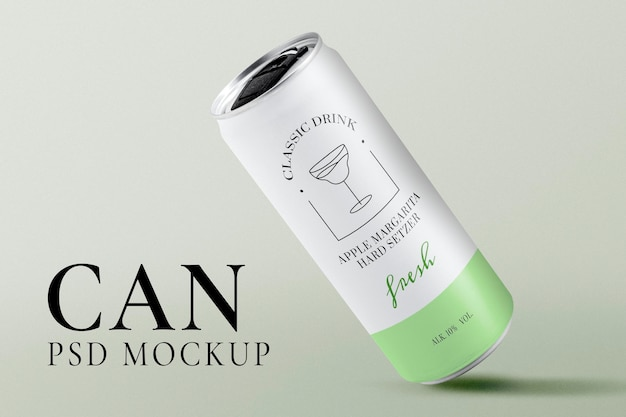 Soda can mockup, green beverage packaging psd
