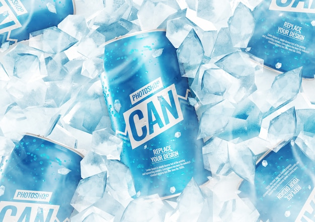 Soda can mockup with ice cubes
