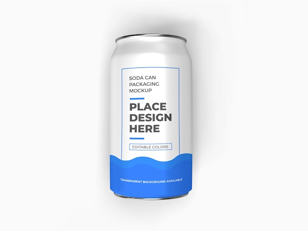 Soda can packaging mockup isolated