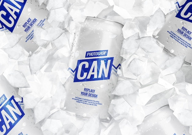 Soda cans mockup with ice cubes