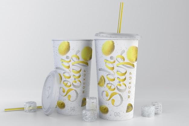 Макет содовой чашки с кубиками льда