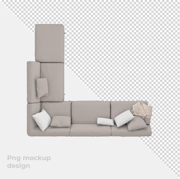 Диван 3d рендеринг украшения и дизайн интерьера вид сверху Premium Psd