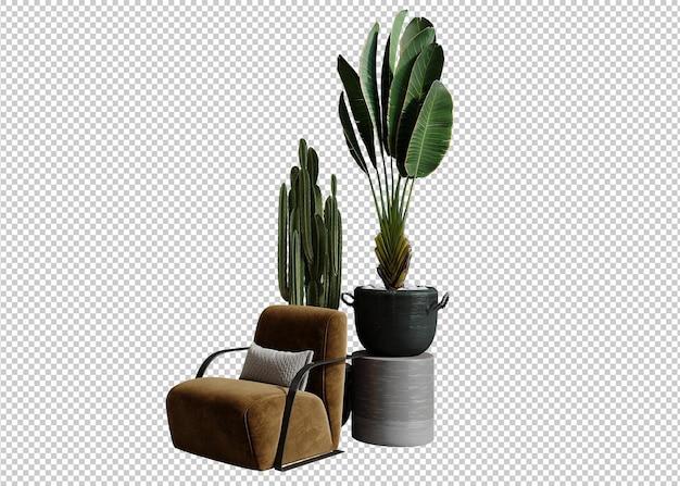 ソファと植物の3dレンダリング