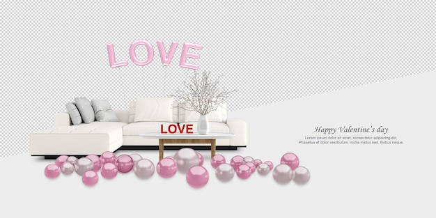 Sofa and ballons in 3d rendering