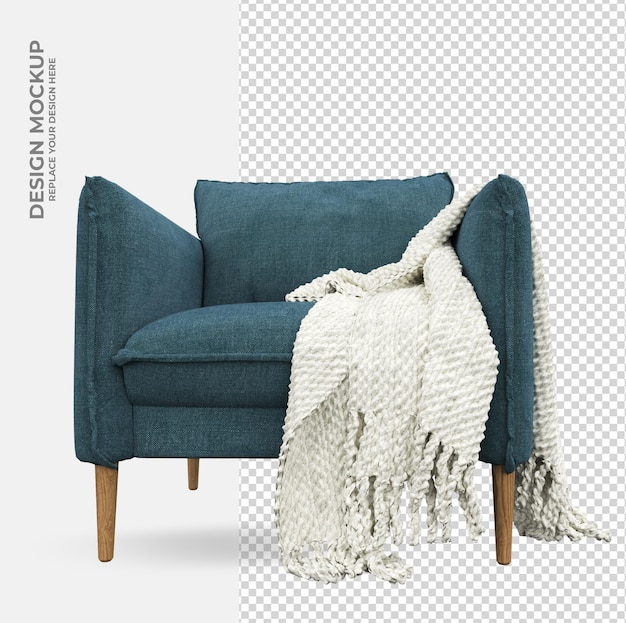 Sofa chair decoration in rendering mockup