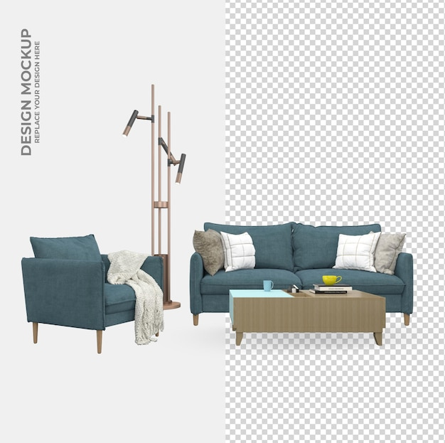 Sofa chair living room decoration in rendering mockup