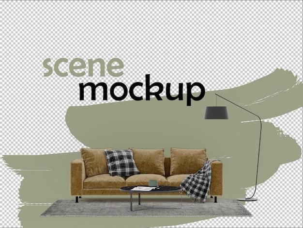 소파 커피 테이블과 램프 3d 모형